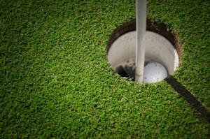 golf hole with ball inside