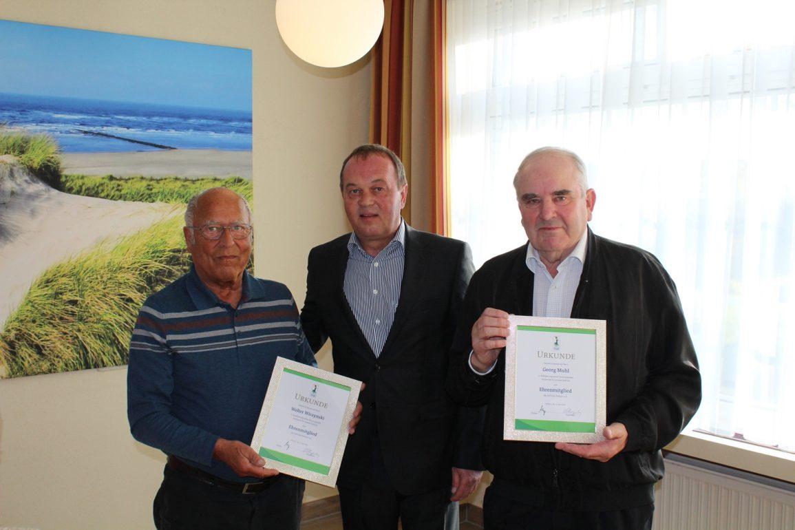 Ehrenmitgliedschaft für Walter Wiczynski, Georg Muhl und Fritz-Heiko Grünwaldt
